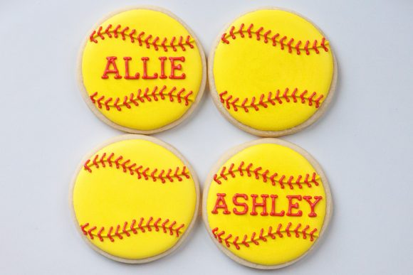 Baked Happy - Personalized Softball Cookies